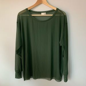 Wilfred Free // Green Mesh Long Sleeve Top